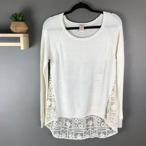 Sundance cream sweater lace panel in back size med